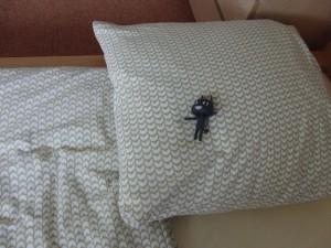 お宿のベッドやー